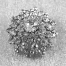 Vintage Clear Rhinestones Round Domed Style Brooch or Pin Jewelry
