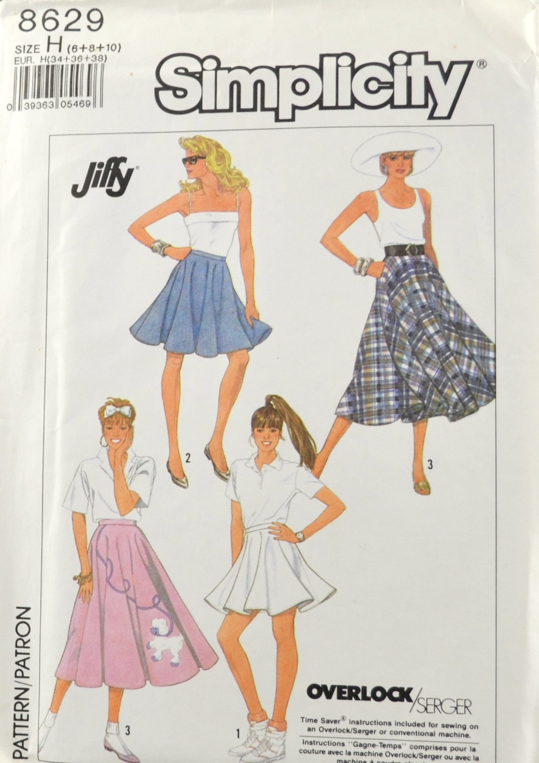 Simplicity 8629 Sewing Pattern Misses' Circle Poodle Skirt Size H 6-10