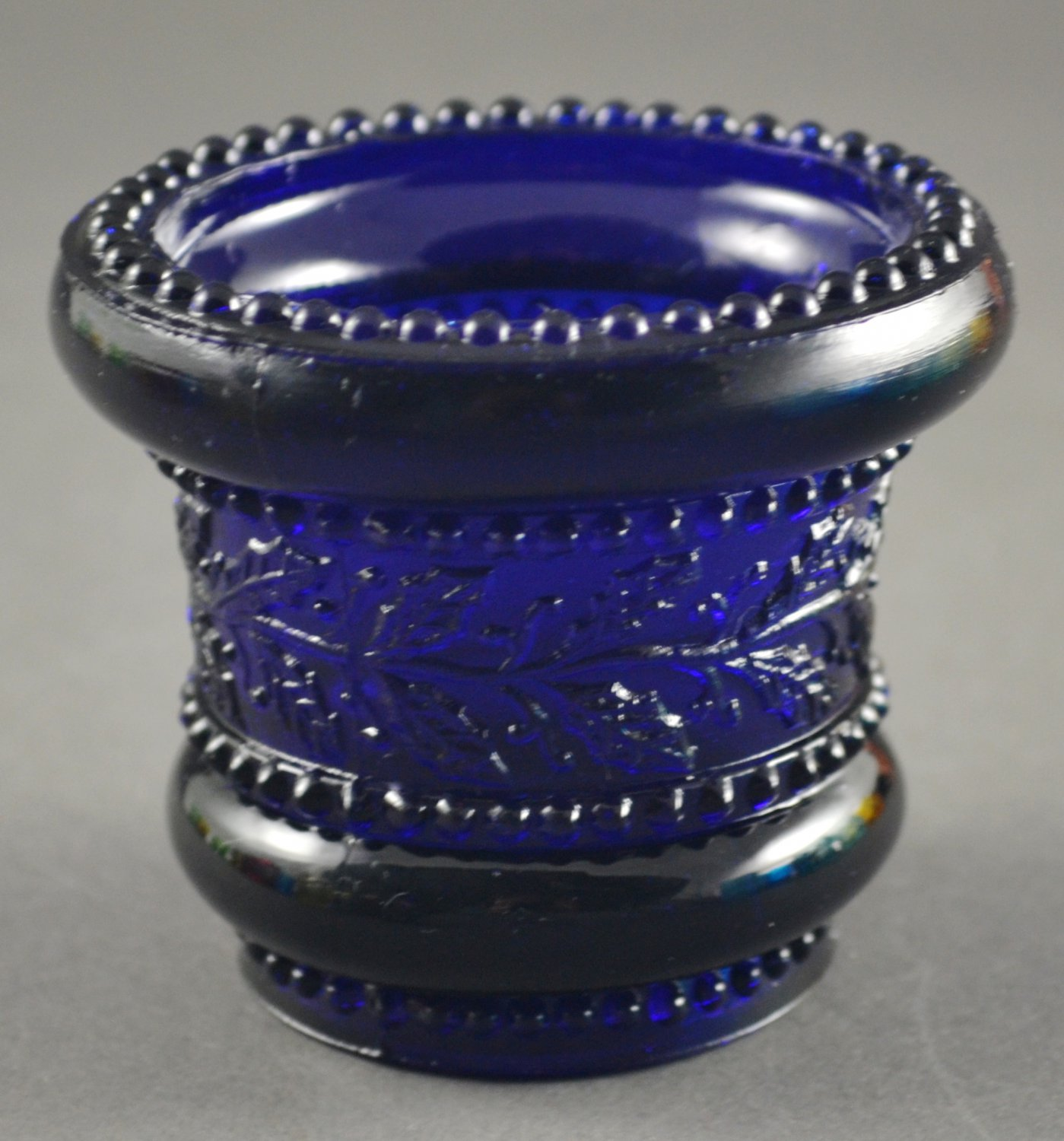 St. Clair or Summit Cobalt Blue Vintage Glass Holly Toothpick Holder