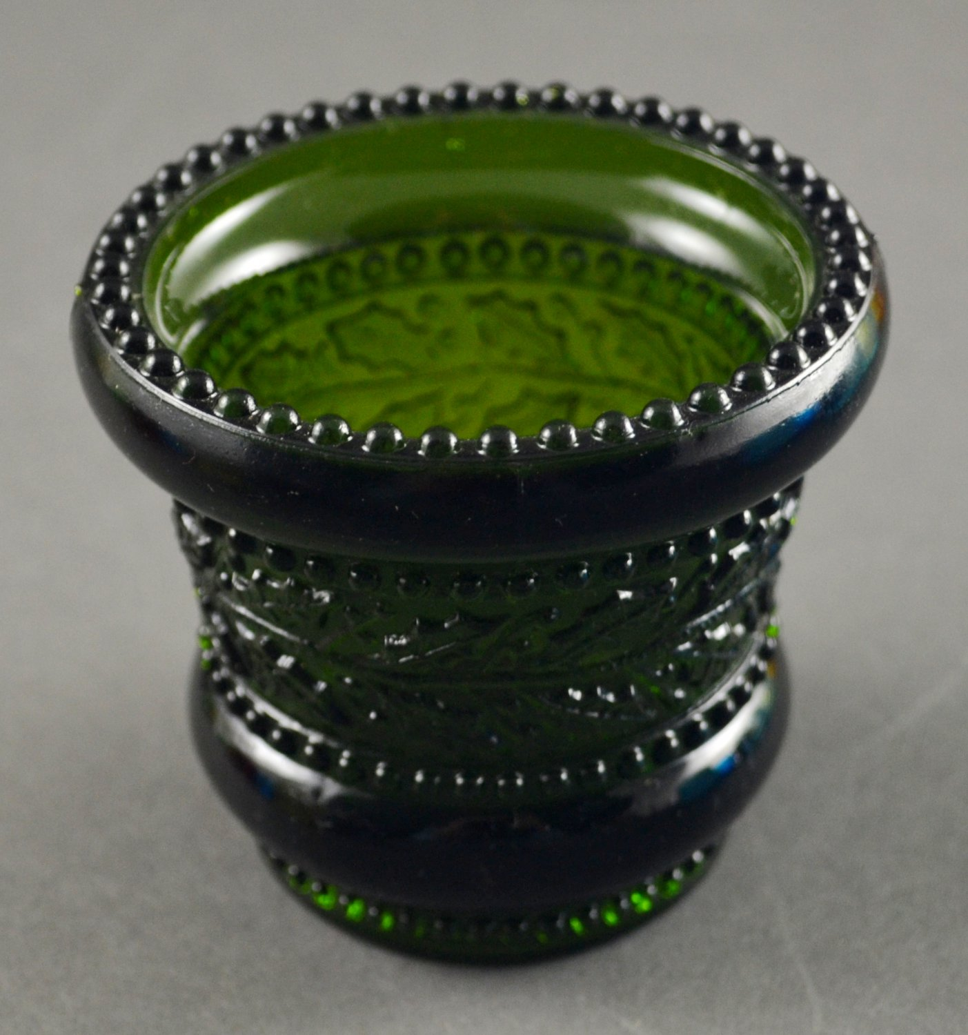 St. Clair or Summit Emerald Green Glass Toothpick Holder Holly Pattern