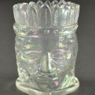 St. Clair Indian Head Clear or White Iridescent Carnival Glass Toothpick Holder