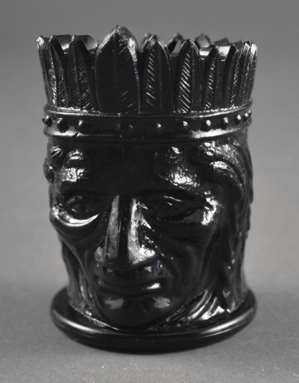 St. Clair Indian Head Black Opaque Vintage Glass Toothpick Holder