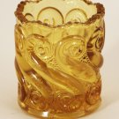L.G. Wright Amber S Repeat Glass Vintage Toothpick Holder