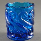 Vintage L.G. Wright S Repeat  Blue Glass Toothpick Holder