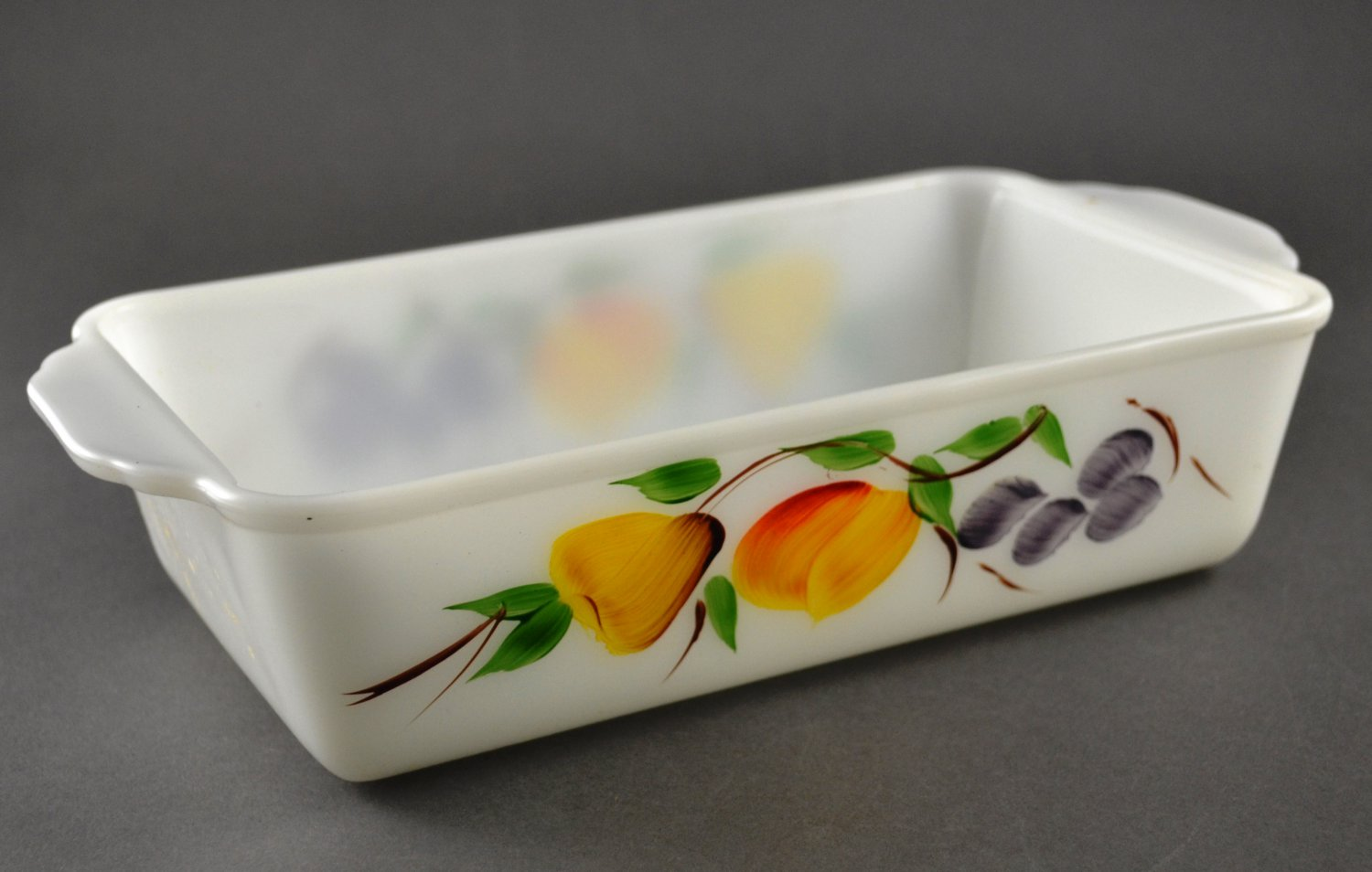Anchor Hocking Fire-King Gay Fads Fruits Loaf Pan