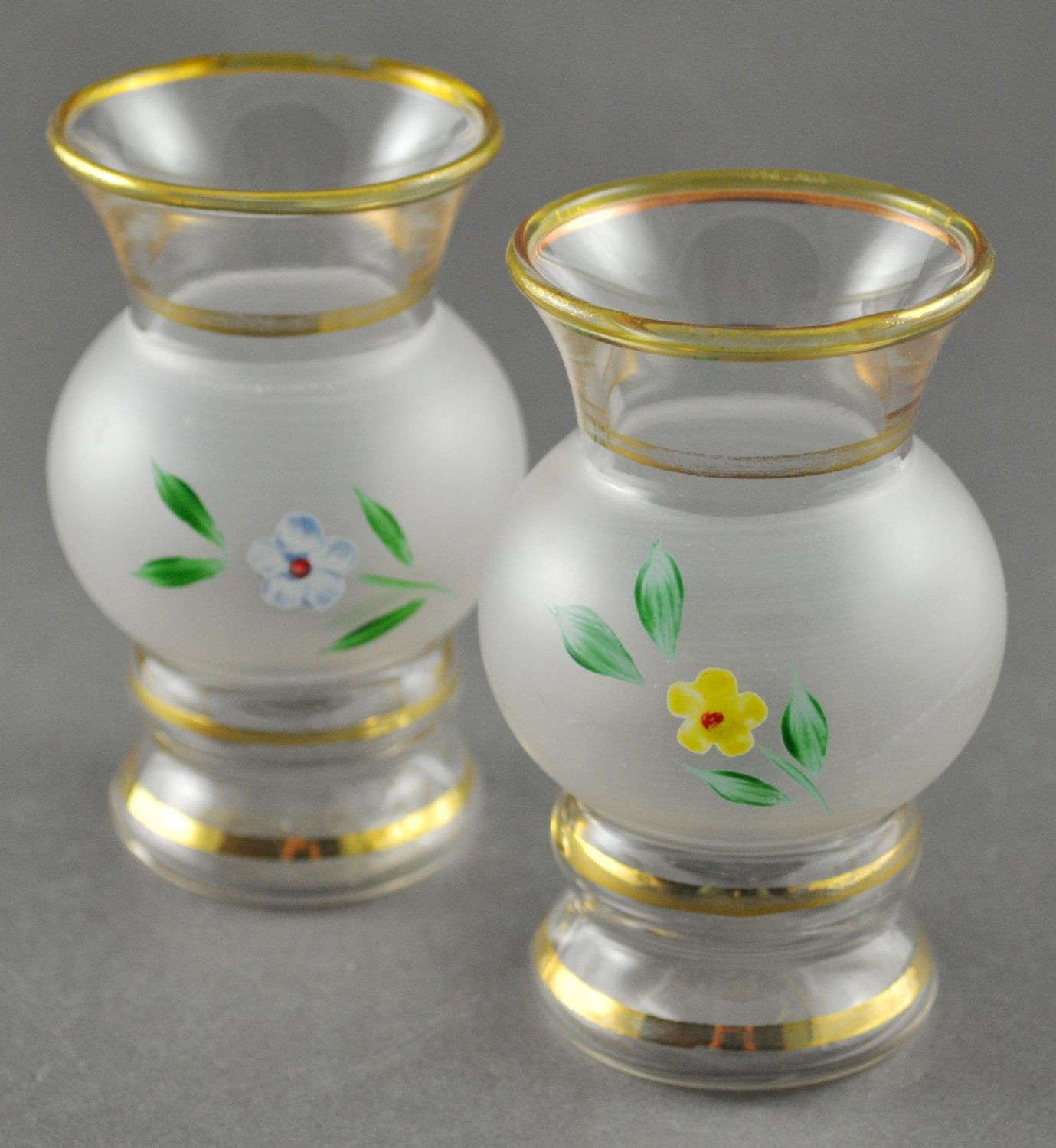 Pair of Clear and Frosted Glass Bud Vases Floral Design