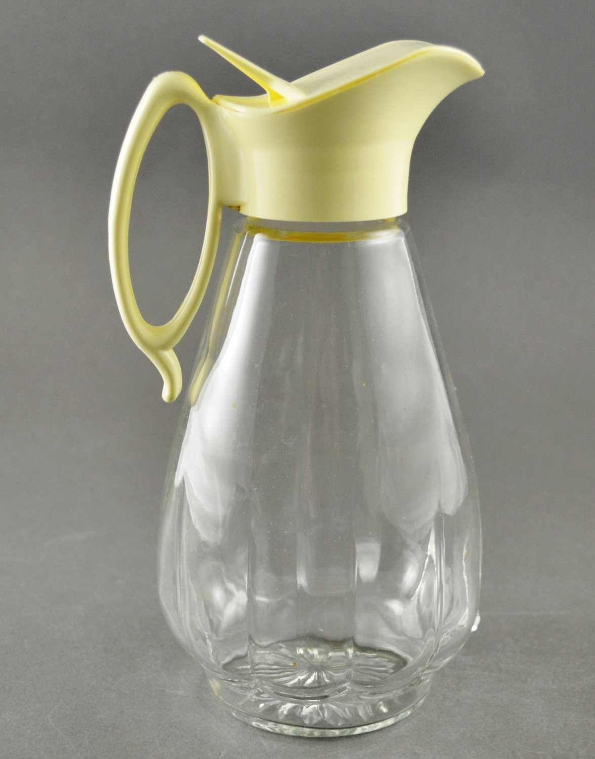 Vintage Mid-Century Glass Syrup Jar Dispenser w/ Plastic Lid