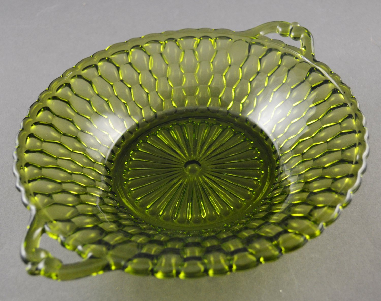 Mid-Century Indiana Glass Honeycomb Round Relish Dish Olive Green