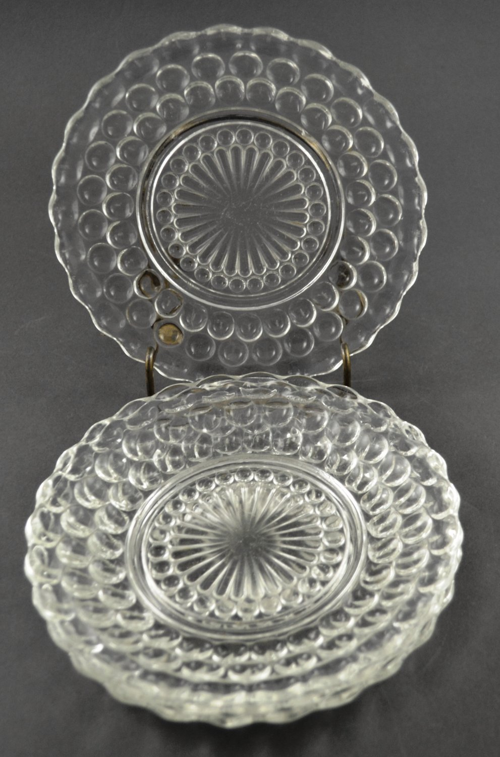 Set of 4 Anchor Hocking Bubble Bullseye Crystal Bread & Butter Plate