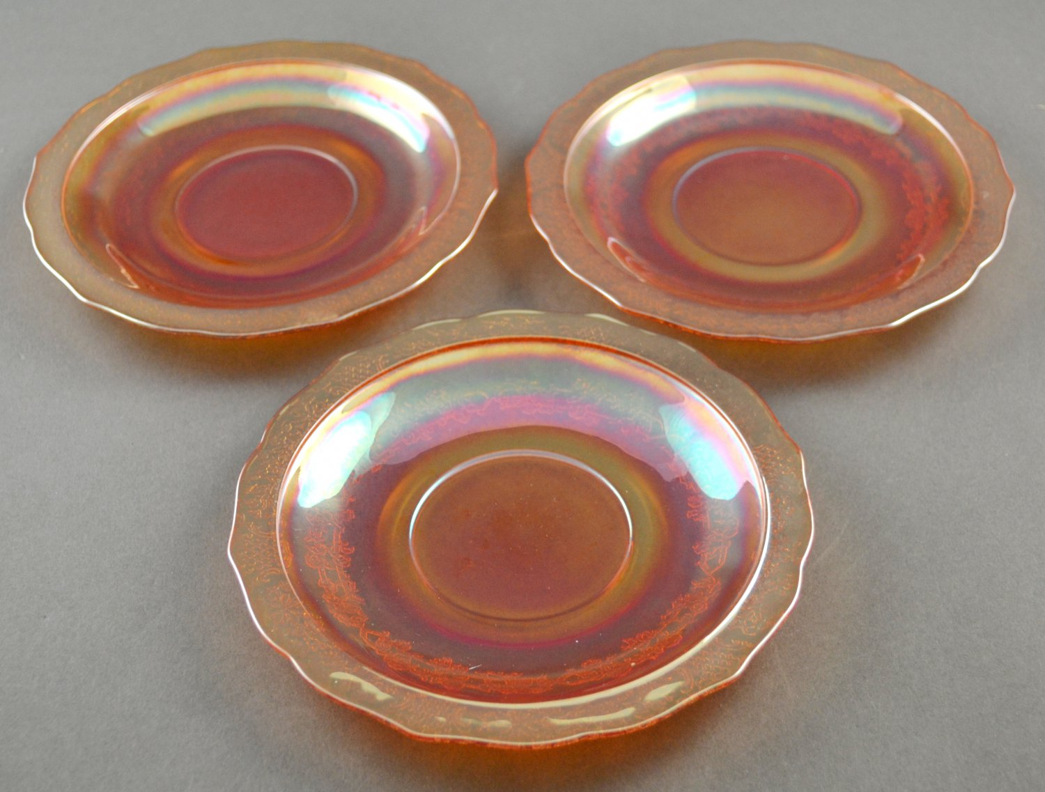 Set of 3 Federal Normandie or Bouquet and Lattice Iridescent Saucers
