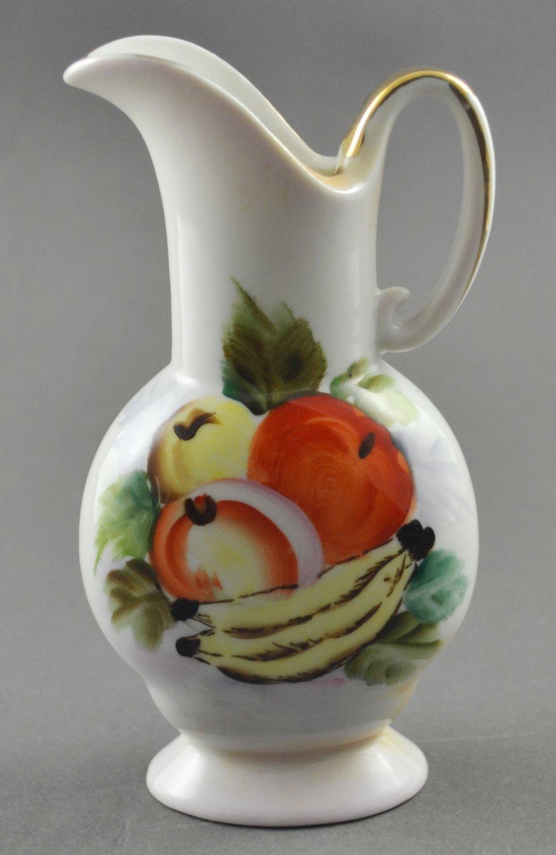 Ucagco Ceramics Hand Painted Fruit White Mini Pitcher Vase