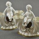 Set of 2 Cornucopia Cherub White Bisque Vase w/  Gold Trim 5105 Germany