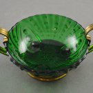 Anchor Hocking Forest Green Burple Bowl w/ Gold Metal Carrier