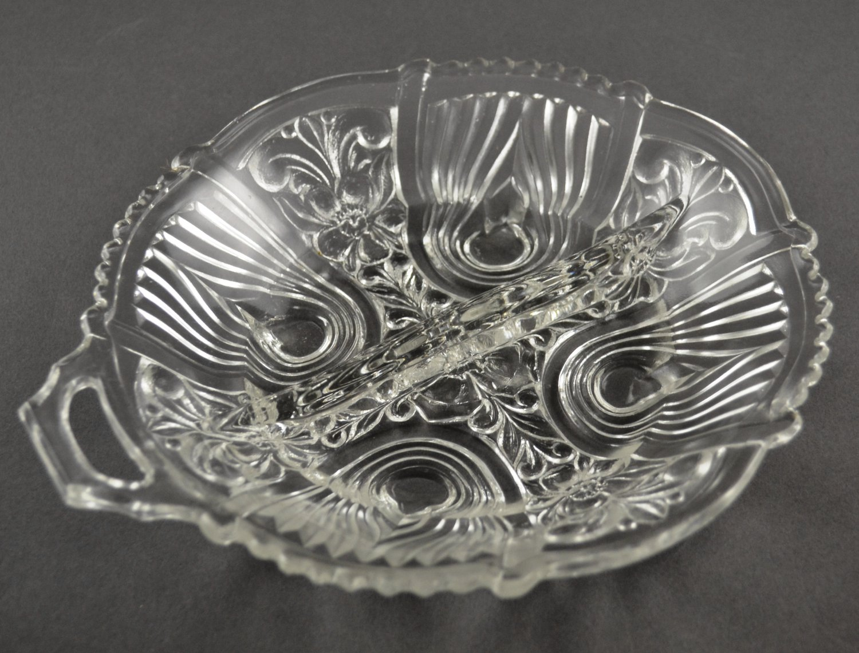 Killarney Crystal Divided Relish Dish by Indiana Glass