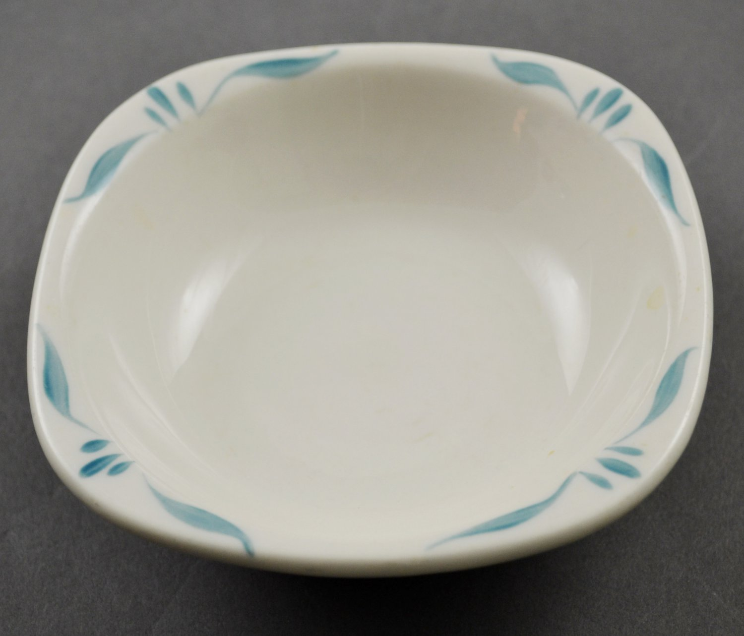 Syracuse China Square White Berry Bowl with Turquoise