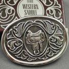 1980 Avon Western Saddle Cowboy Silvertone Belt Buckle for Men