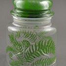 Vintage Clear Glass Storage Jar Covered Canister Green Ferns