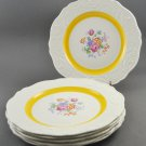 Set of 6 Steubenville Lunch Plate Adam Antique w/ Yellow Band Floral