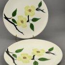 Blue Ridge Southern Potteries Skyline Shape Yellow Dogwood Dinner Plates