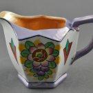 Vintage Deco Lustreware Creamer Hexagon Lavender Orange White