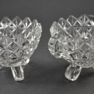 Vintage Indiana Glass Monticello Tri-Footed Sugar and Creamer Clear
