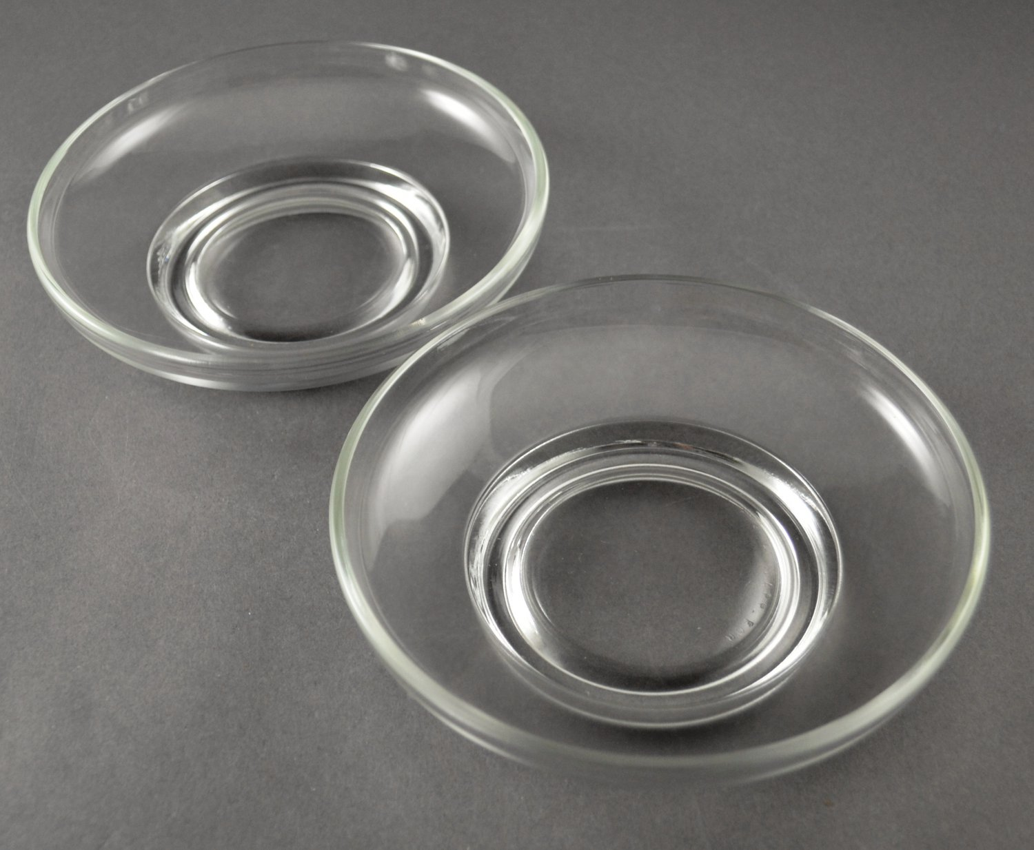 Set of 2 Small Bowls Plain Low Round Clear Glass w/ Collar Base