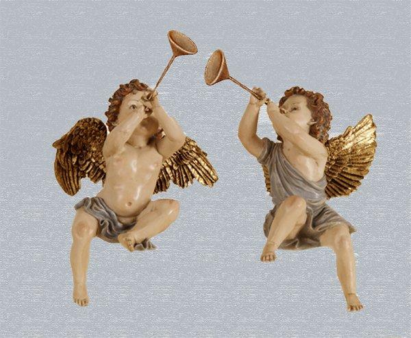 Sitting Cherub Angels with Trumpets