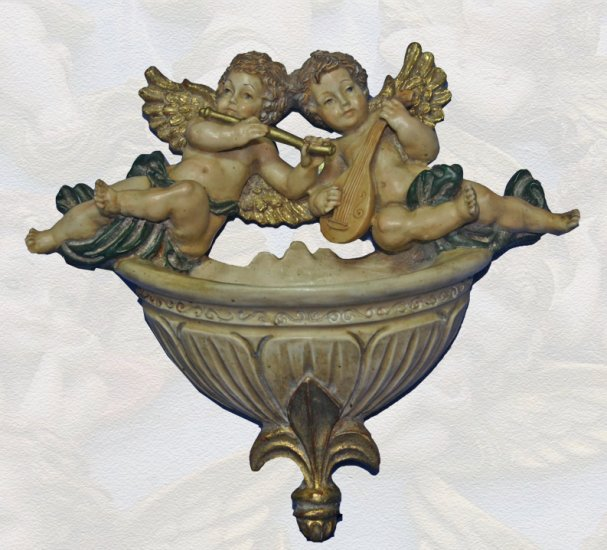 Cherub Angel Holy Water Font with Fleur de Lys