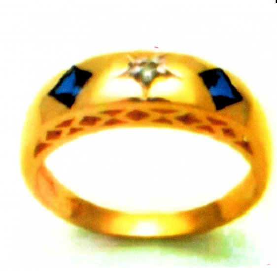 Sapphire & Diamond Ring 9K SOLID GOLD (sz7)