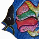 Hand Made Wooden Blue Fish with Babies Puzzle - So Beautiful, can be used as Wall Décor!