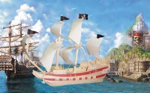 PIRATE SHIP 3D Wooden PUZZLE - Challenging, Educational and Creative Woodcraft Model Puzzle