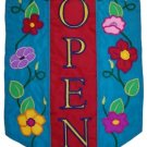 Commercial Retail Store - OPEN - Banner Sign with Flowers 12x18