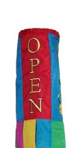 Commercial Retail Store - OPEN - Windsock Sign with Flowers Design 40in