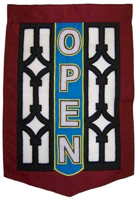 Commercial Retail Store - OPEN - Banner Sign with Screen Design 12x18