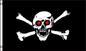 Red Eye Jolly Roger Pirate Flag 3x5 Boat/Motorcycle