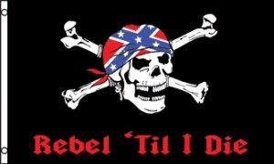 Rebel Till I Die Pirate Flag 3x5 Boat/Motorcycle