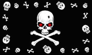 Red Eye Skulls Pirate Flag 3x5 Boat/Motorcycle