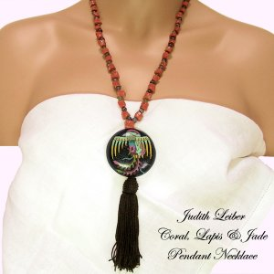 Judith Leiber Vintage Necklace Coral Lapis Jade Beads