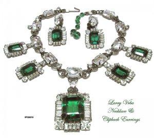 Larry Vrba Necklace Earrings Set Vintage Emerald Diamond