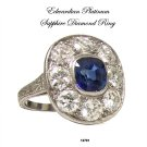Art Deco Platinum Diamond Sapphire Engagement Ring