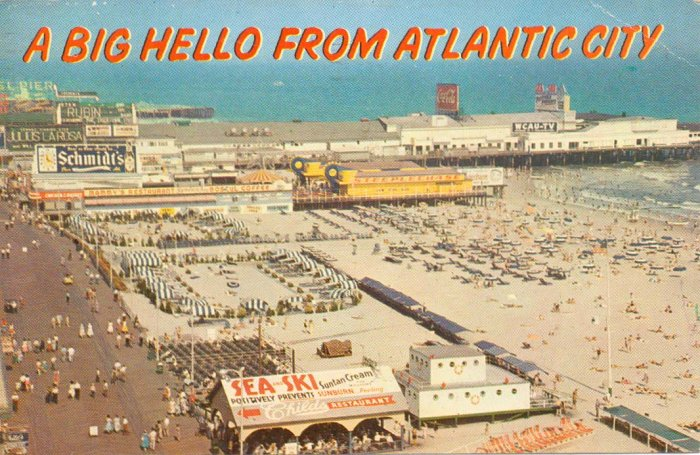 Atlantic City NJ Beach Boardwalk & Pier 1963 Postcard