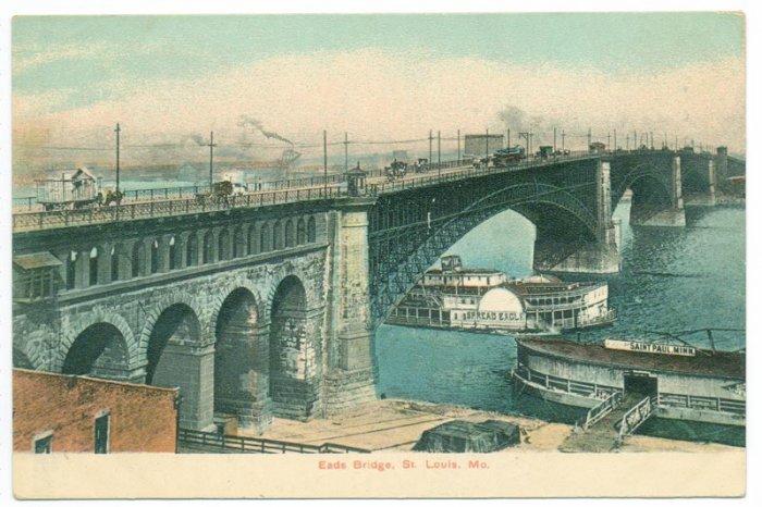 St Louis MO Eads Bridge Spread Eagle Paddlewheeler 1910
