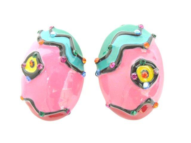 Large Enameled Oval Pop Art Earrings