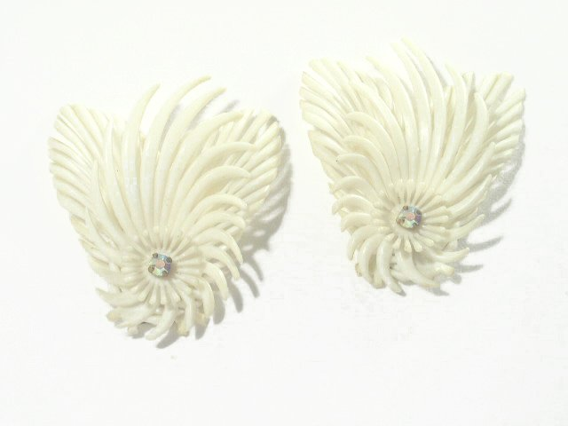 Vintage Large Feathery Plastic & AB Rhinestone Earrings - Germany