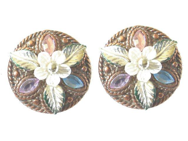 Copper and Rhinestone Earrings 1950s