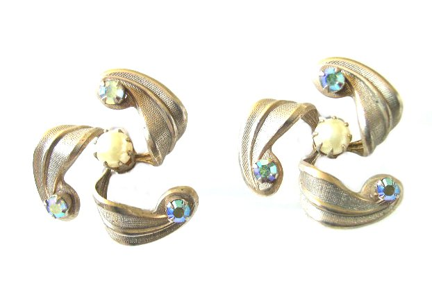 Space Age Faux Pearls & A B Rhinestone Earrings