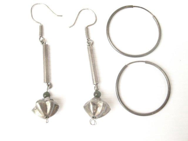 2 Pr Mexican Silver Dangling & Hoop Earrings Pierced