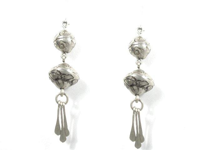 Vintage Mexican Silver Dangling Bead Earrings Pierced