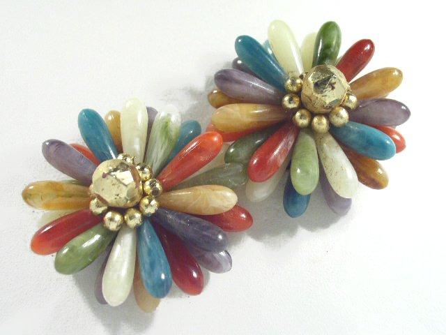 Vintage Large Colorful Bead Runway Earrings Clip