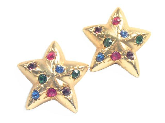 Vintage Matte Gold Rhinestone Studded Star Clip Earrings